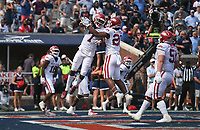 Arkansas wide receiver Trey Knox (7) scores, Saturday, October 9, 2021 during the third quarter of a football game at Vaught Hemingway Stadium in Oxford, Miss. Check out nwaonline.com/211010Daily/ for today's photo gallery. <br /> (NWA Democrat-Gazette/Charlie Kaijo)
