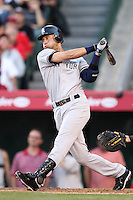 New York Yankees shortstop Derek Jeter #2 bats against the Los Angeles Angels at Angel Stadium on June 4, 2011 in Anaheim,California. Larry Goren/Four Seam Images