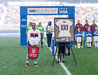 HARRISON, NJ - MARCH 08: Crystal Dunn #19 of the United States stands on the field during a game between Spain and USWNT at Red Bull Arena on March 08, 2020 in Harrison, New Jersey.