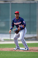 Minnesota Twins infielder Wilfredo Tovar (36) during a Spring Training practice on March 1, 2016 at Hammond Stadium in Fort Myers, Florida.  (Mike Janes/Four Seam Images)