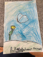 """Light always shines"" drawing by Charlotte Rioux Grade 4, Yarmouth Maine, USA"
