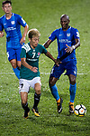 Deshuai Xu of Long Lions (L) fights for the ball with Kitchee Forward Alessandro Ferreira (R) during the Community Cup match between Kitchee and Eastern Long Lions at Mong Kok Stadium on September 23, 2017 in Hong Kong, China. Photo by Marcio Rodrigo Machado / Power Sport Images