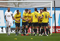 Liam Sercombe of Oxford United celebrates scoring his sides first goal with team-mates    during the Emirates FA Cup 3rd Round between Oxford United v Swansea     played at Kassam Stadium  on 10th January 2016 in Oxford