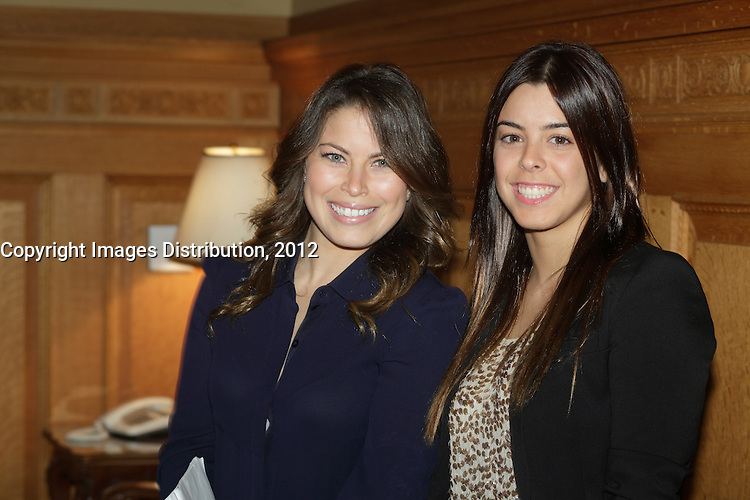 October 29 2012 - Montreal, Quebec, CANADA - Gerald Tremblay, Mayor of Montreal receive at City Hall  local athletes who took part in London 2012  Olympics and Paralympics games. IN PHOTO : Roseline Filion (L),<br />Meghan Benfeito (R)
