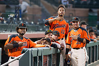 Nathanael Javier (47), Heliot Ramos (31), Deiyerbert Bolivar (62), Mecky Coronado (2), Beicker Mendoza (12), and Diego Rincones (35) of the AZL Giants pose for a photo before a game against the AZL Cubs on September 5, 2017 at Scottsdale Stadium in Scottsdale, Arizona. AZL Cubs defeated the AZL Giants 10-4 to take a 1-0 lead in the Arizona League Championship Series. (Zachary Lucy/Four Seam Images)