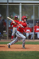Canada Junior National Team Emilien Pitre (4) bats during an exhibition game against the Toronto Blue Jays on March 8, 2020 at Baseball City in St. Petersburg, Florida.  (Mike Janes/Four Seam Images)
