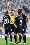 Referee Santiago Jaime Latre shows Michael Nicolas Santos Rosadilla of CD Leganes the yellow card during the La Liga 2018-19 match between Real Madrid and CD Leganes at Estadio Santiago Bernabeu on September 01 2018 in Madrid, Spain. Photo by Diego Souto / Power Sport Images