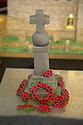 """08/12/16<br /> <br /> War memorial. Invented for Armistice Sunday - no memorial in village.<br /> <br /> In this incredibly detailed replica of a small Peak District village, everything is edible, from the baubles on the Christmas trees to the flowers around the houses and what's more the """"village"""" is made from 35 individual rich fruit Christmas cakes which will be eaten on the 25th!<br /> <br /> The amazing model village is made up of 18 shops and houses, which are all realistic reproductions of the actual buildings found in Youlgreave, and is open to the public to view at All Saints' church, the main focal point of the miniature masterpiece.<br /> <br /> Retired florist Lynn Nolan, who decorated all the cakes, came up with the original idea as a way of raising money for the church, which needs a new roof, and the first of the cakes went in the oven back in April.<br /> <br /> MORE...https://fstoppressblog.wordpress.com/the-village-thats-really-a-christmas-cake/<br /> <br /> All Rights Reserved F Stop Press Ltd. (0)1773 550665   www.fstoppress.com"""