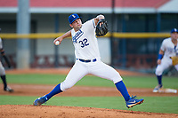 Burlington Royals relief pitcher Sal Biasi (32) in action against the Danville Braves at Burlington Athletic Stadium on August 12, 2017 in Burlington, North Carolina.  The Braves defeated the Royals 5-3.  (Brian Westerholt/Four Seam Images)