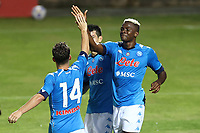 Victor Osimhen of SSC Napoli and Dries Mertens  celebrate<br /> during the friendly football match between SSC Napoli and L Aquila 1927 at stadio Patini in Castel di Sangro, Italy, August 28, 2020. <br /> Photo Cesare Purini / Insidefoto