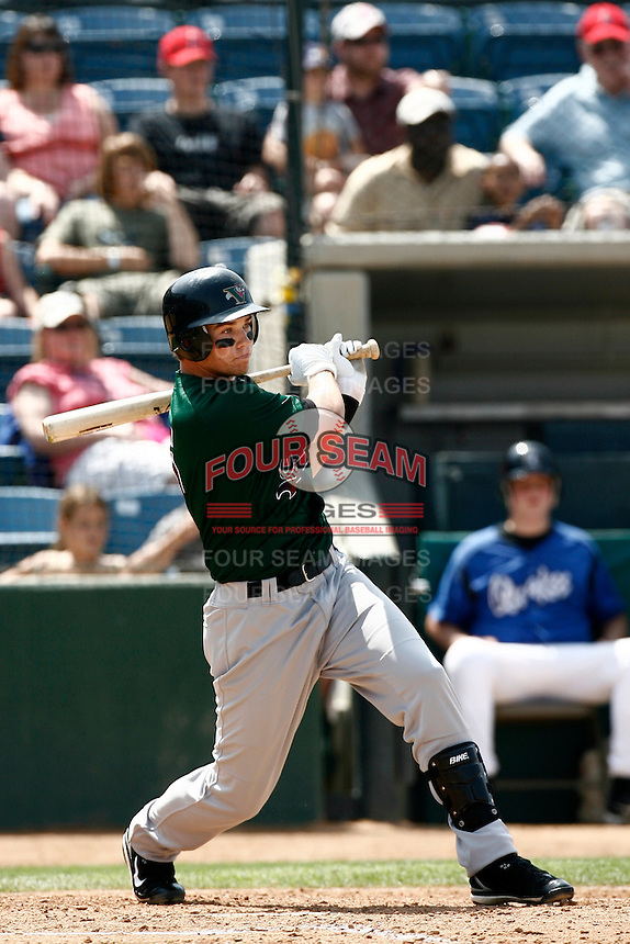 Cyle Hankerd of the Visalia Oaks during a California League baseball game on May 20, 2007 at The Epicenter in Rancho Cucamonga, California. (Larry Goren/Four Seam Images)