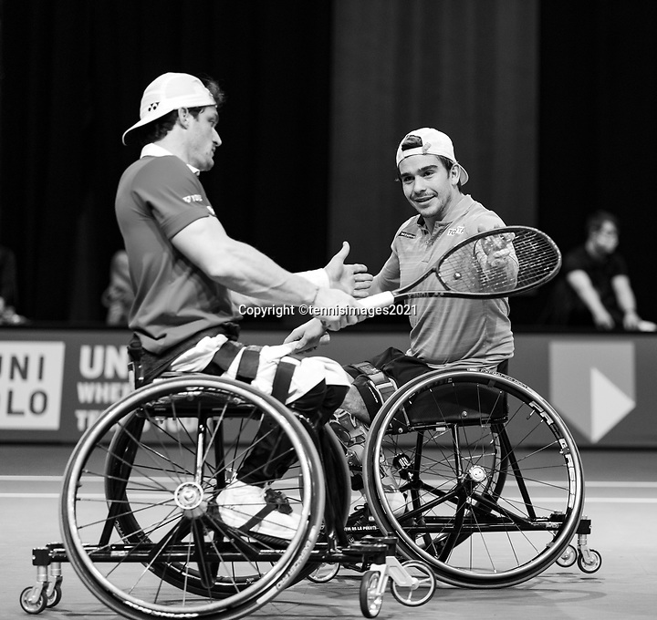 Rotterdam, The Netherlands, 6 march  2021, ABNAMRO World Tennis Tournament, Ahoy,  <br /> Semi final wheelchair: Martin de la Puente (ESP) / Gustavo Fernandez (ARG).<br /> Photo: www.tennisimages.com/