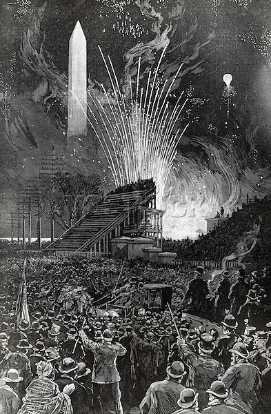 First Illumination Of National Monument On March 4, 1885, Inauguration Of President Cleveland, Artist Unknown