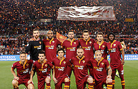 Calcio, Serie A: Roma vs Milan. Roma, stadio Olimpico, 25 aprile 2014.<br /> AS Roma players, back row, from left, Morgan De Sanctis , Maicon, Leandro Castan, Rafael Toloi, Adem Ljajic , Gervinho, front row, from left, Francesco Totti, Miralem Pjanic, Dodo', Daniele De Rossi, and Radja Nainggolan pose for photographers during the Italian Serie A football match between AS Roma and AC Milan at Rome's Olympic stadium, 25 April 2014.<br /> UPDATE IMAGES PRESS/Riccardo De Luca