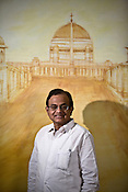 India's current Home Minister and former Finance Minister, P. Chidambaram, in his office at North Block in New Delhi, India.