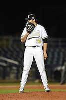 Vanderbilt Commodores pitcher Ben Bowden (35) looks in for the sign during a game against the Indiana State Sycamores on February 20, 2015 at Charlotte Sports Park in Port Charlotte, Florida.  Vanderbilt defeated Indiana State 3-2.  (Mike Janes/Four Seam Images)