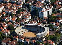 France, Aquitaine, Pyrénées-Atlantiques, Pays Basque, Bayonne: Les arènes  - Vue aérienne //  France, Pyrenees Atlantiques, Basque Country, Bayonne// France, Pyrenees Atlantiques, Basque Country, Bayonne: The Bullring - Aerial view