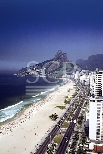 Rio de Janeiro, Brazil. Ipanema and Leblon Beaches and Dois Irmaos with high rise buildings along the beach. Aerial view.