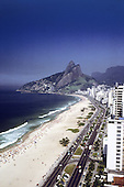 Rio de Janeiro, Brazil. Ipanema and Leblon Beaches and Dois Irmaos with high rise buildings along the beach. Aerial view.