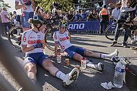 Georgi Pfeiffer (GBR/DSM) and Anna Henderson (GBR/Jumbo-Visma) post race<br /> <br /> Women Elite – Road Race (WC)<br /> Race from Antwerp to Leuven (157.7km)<br /> <br /> ©kramon