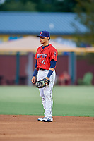 Jacksonville Jumbo Shrimp second baseman Isan Diaz (11) during a game against the Biloxi Shuckers on June 8, 2018 at Baseball Grounds of Jacksonville in Jacksonville, Florida.  Biloxi defeated Jacksonville 5-3.  (Mike Janes/Four Seam Images)