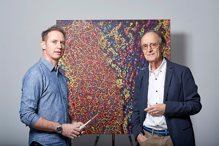 200316 - © John Angerson<br /> James Cochran and Sir Melvyn Greaves.<br /> ICR has commissioned well-known pointillist artist James Cochran to create cell portrait using an actual ICR lab pipette to paint every dot. The piece of work will be made up of around lab pipette which will symbolise the precision science that goes into making the discoveries that defeat cancer.