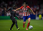 Filipe Luis of Atletico de Madrid fights for the ball with N'Golo Kante of Chelsea FC during the UEFA Champions League 2017-18 match between Atletico de Madrid and Chelsea FC at the Wanda Metropolitano on 27 September 2017, in Madrid, Spain. Photo by Diego Gonzalez / Power Sport Images