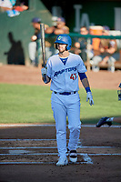 Brandon Lewis (47) of the Ogden Raptors at bat against the Rocky Mountain Vibes at Lindquist Field on July 6, 2019 in Ogden, Utah. The Vibes defeated the Raptors 7-2. (Stephen Smith/Four Seam Images)