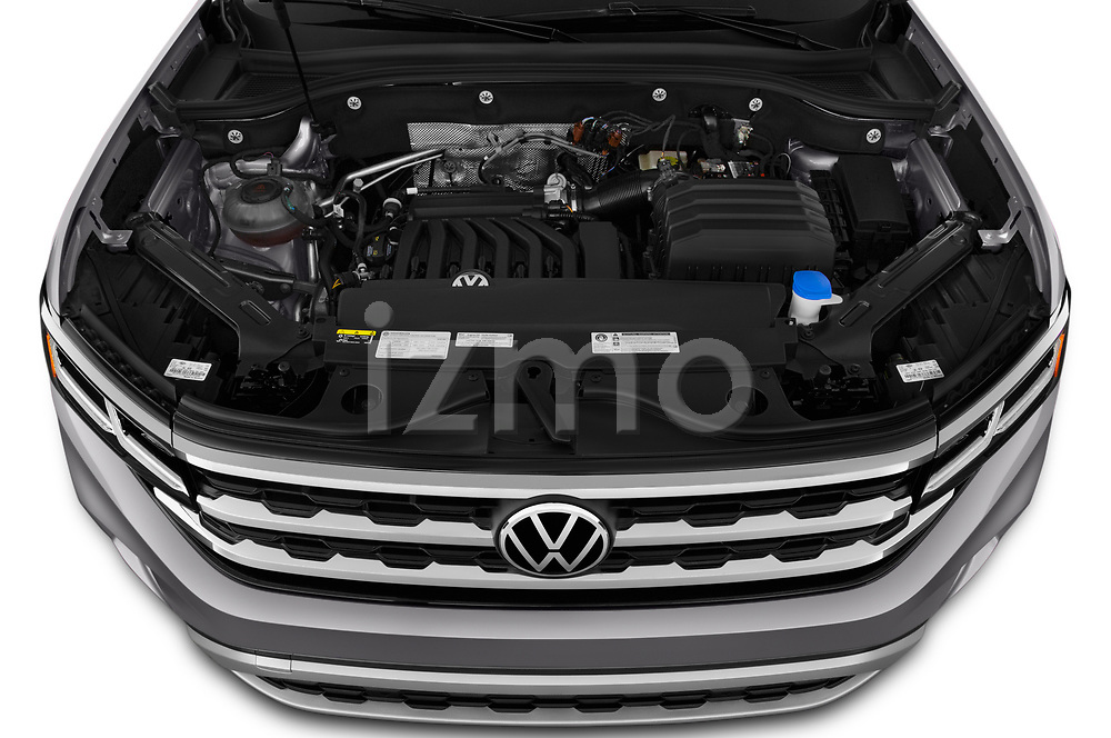 Car Stock 2020 Volkswagen Atlas-Cross-Sport SE-w/Tech 5 Door SUV Engine  high angle detail view