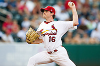 John Gast (16) of the Springfield Cardinals delivers a pitch during a game against the Northwest Arkansas Naturals at Hammons Field on August 1, 2011 in Springfield, Missouri. Springfield defeated Northwest Arkansas 7-1. (David Welker / Four Seam Images).