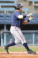 Rome Braves Chris Garcia #49 checks his swing during  a game against  the Asheville Tourists at McCormick Field in Asheville,  North Carolina;  May 18, 2011. The Braves won the game 8-7.  Photo By Tony Farlow/Four Seam Images