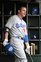 SAN FRANCISCO - SEPTEMBER 13:  Jim Thome of the Los Angeles Dodgers stands in the dugout against the San Francisco Giants during the game at AT&T Park on September 13, 2009 in San Francisco, California. Photo by Brad Mangin