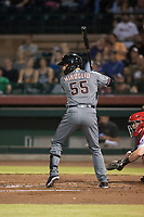 Salt River Rafters catcher Dom Miroglio (55), of the Arizona Diamondbacks organization, at bat during an Arizona Fall League game against the Scottsdale Scorpions at Scottsdale Stadium on October 12, 2018 in Scottsdale, Arizona. Scottsdale defeated Salt River 6-2. (Zachary Lucy/Four Seam Images)