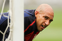 A drop of sweat drips off the chin of United States goalkeeper Tim Howard (1) during warmups prior to an international friendly between the men's national teams of the United States (USA) and Turkey (TUR) at Lincoln Financial Field in Philadelphia, PA, on May 29, 2010.