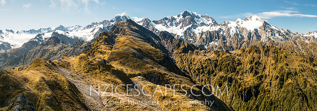 Southern Alps with Mount Tasman and Aoraki, Mount Cook from Mt. Fox. Fox Glacier visible on left, Westland Tai Poutini National Park, West Coast, UNESCO World Heritage Area, New Zealand, NZ