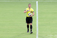 CARY, NC - AUGUST 01: Referee Kevin Broadley walks to the center circle during a game between Birmingham Legion FC and North Carolina FC at Sahlen's Stadium at WakeMed Soccer Park on August 01, 2020 in Cary, North Carolina.