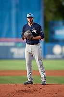 Charlotte Stone Crabs starting pitcher Brandon Lawson (25) gets ready to deliver a pitch during the first game of a doubleheader against the St. Lucie Mets on April 24, 2018 at First Data Field in Port St. Lucie, Florida.  St. Lucie defeated Charlotte 5-3.  (Mike Janes/Four Seam Images)