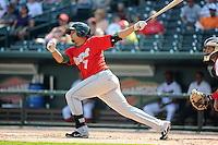 Fort Wayne TinCaps second baseman Diego Goris (7) during a game against the Great Lakes Loons on August 18, 2013 at Dow Diamond in Midland, Michigan.  Fort Wayne defeated Great Lakes 4-3.  (Mike Janes/Four Seam Images)