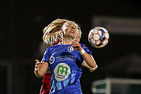 Ella van Kerkhoven (3) of AA Gent and Magali Dinon (6) of Woluwe battle for the ball during a female soccer game between FC Femina White Star Woluwe and AA Gent Ladies on the 13 th matchday of the 2020 - 2021 season of Belgian Scooore Womens Super League , friday 5 th of February 2021  in Woluwe , Belgium . PHOTO SPORTPIX.BE | SPP | SEVIL OKTEM