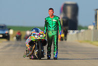 Jul, 9, 2011; Joliet, IL, USA: NHRA pro stock motorcycle rider Shawn Gann during qualifying for the Route 66 Nationals at Route 66 Raceway. Mandatory Credit: Mark J. Rebilas-