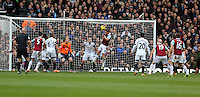 Pictured: Kevin Nolan of West Ham (C) scoring his second goal with a header. 01 February 2014<br /> Re: Barclay's Premier League, West Ham United v Swansea City FC at Boleyn Ground, London.