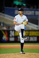 Jackson Generals relief pitcher Jared Miller (40) delivers a pitch during a game against the Chattanooga Lookouts on April 27, 2017 at The Ballpark at Jackson in Jackson, Tennessee.  Chattanooga defeated Jackson 5-4.  (Mike Janes/Four Seam Images)