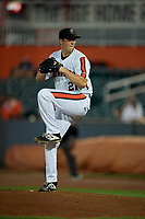 Aberdeen IronBirds pitcher Dan Hammer (21) during a NY-Penn League game against the Vermont Lake Monsters on August 19, 2019 at Leidos Field at Ripken Stadium in Aberdeen, Maryland.  Aberdeen defeated Vermont 6-2.  (Mike Janes/Four Seam Images)