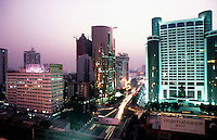 Downtown Shenzhen in South China. Shenzhen is China's oldest new city, it is the city that was the experimental are for Deng's economic reforms and is one of the richness and most modern cities in China..
