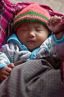 Myanmar, Burma, Yangon.  Sleeping Baby.