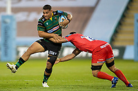 29th September 2020; Franklin Gardens, Northampton, East Midlands, England; Premiership Rugby Union, Northampton Saints versus Sale Sharks; Sam Matavesi of Northampton Saints is tackled by Jono Ross of Sale Sharks