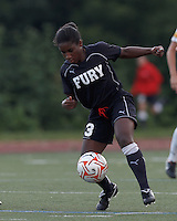 New York Fury forward Jasmyne Spencer (3) attempts to control the ball. In a Women's Premier Soccer League Elite (WPSL) match, the Boston Breakers defeated New York Fury, 2-0, at Dilboy Stadium on June 23, 2012.