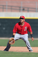 Efren Navarro #19 of the Los Angeles Angels during a Minor League Spring Training Game against the Oakland Athletics at the Los Angeles Angels Spring Training Complex on March 17, 2014 in Tempe, Arizona. (Larry Goren/Four Seam Images)