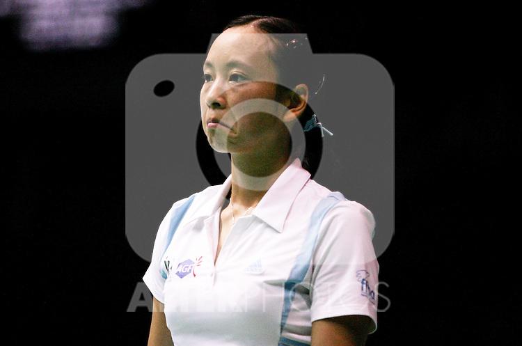 France's Hongyan Pi during her match against Austria's Simone Prutsch during World Championships Badminton celebrated at Palacio de Deportes in Madrid, Wednesday September 20 2006. (ALTERPHOTOS/Alvaro Hernandez).