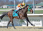 Visitant #9, ridden by jockey Deshawn Parker, wins the Kentucky Cup Classic Stakes on Jeff Ruby Steaks Stakes Day at Turfway Park in Florence, Kentucky. Jessica Morgan/Eclipse Sportswire/CSM